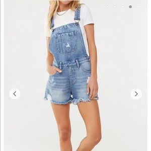 Forever 21 Distressed Denim Overall Shorts